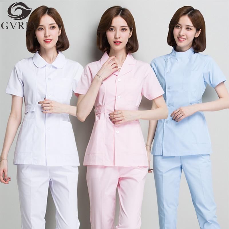 Nurse Uniform Short Sleeve Ladies Slim Split Suit Summer Hospital Beauty Salon Dental Clinic Doctor Overalls Shirt + Pants