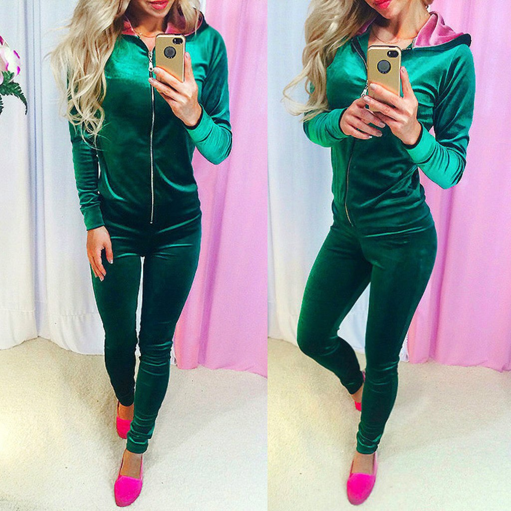 Green Zipper Suit Set 2020 Women Tracksuit Two-piece Sport Style Outfit Jogging Sweatshirt Fitness Lounge Sportwear