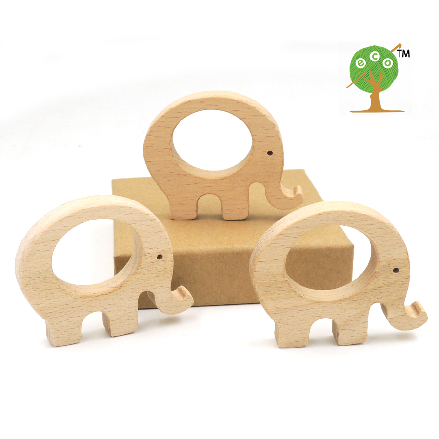 10pcs x 70mm unfinished beech elephant wooden DIY finding beech teether baby carrier toy 2.75 inch chew baby gift EA58-2