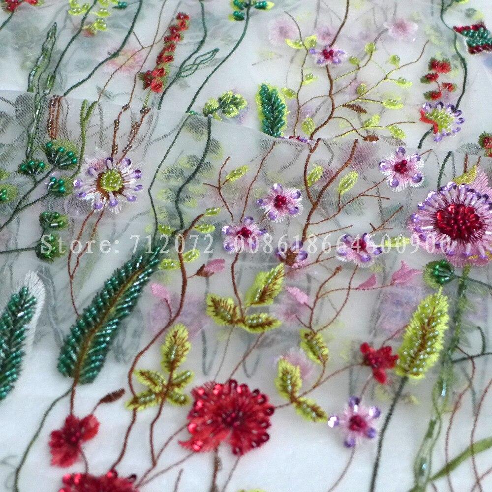 La Belleza krásné Hot módní styl Spacel surpel smíšené barvy ručně korálky na mřížce Svatební šaty krajkové tkaniny 1 yard