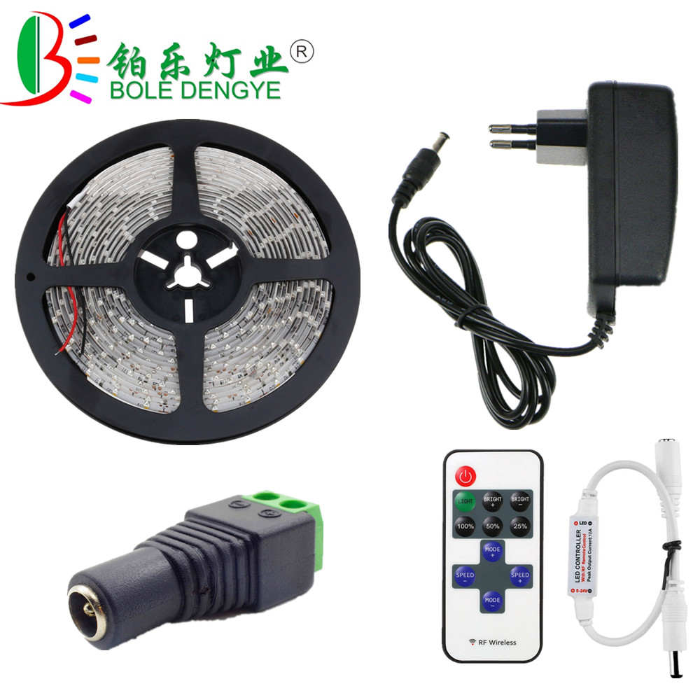 BOLEDENGYE SMD 2835 LED Strip Light White Warm White 12V 60leds/m Waterproof Flexible Tape Ribbon+RF Remote Controller+12V Power