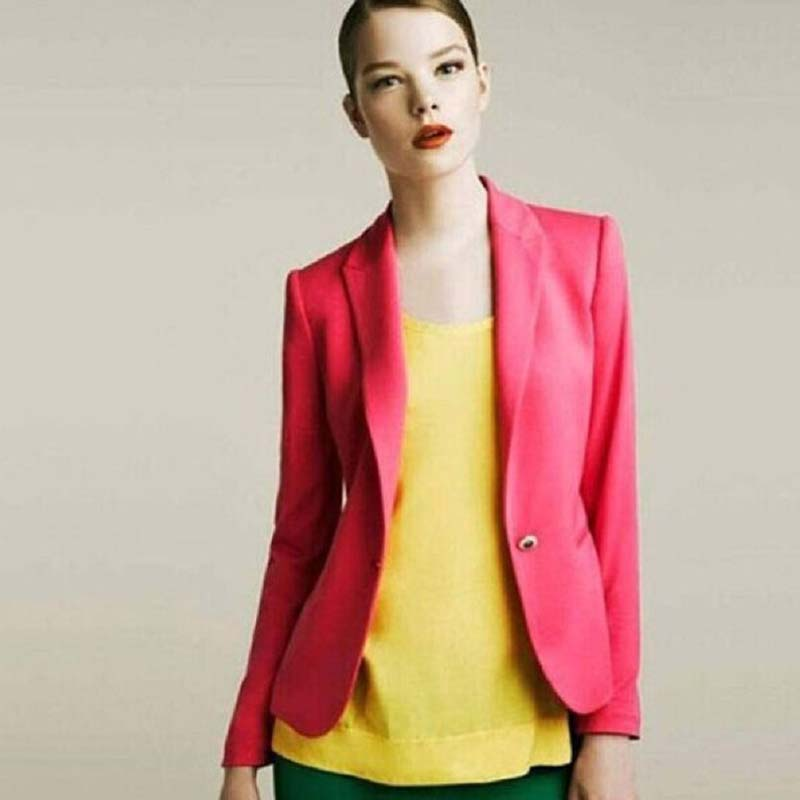 Danjeaner Blazer Feminino Women Single Button Casual Blazers and Jackets Plus Size Candy Colors Ladies Office Coats