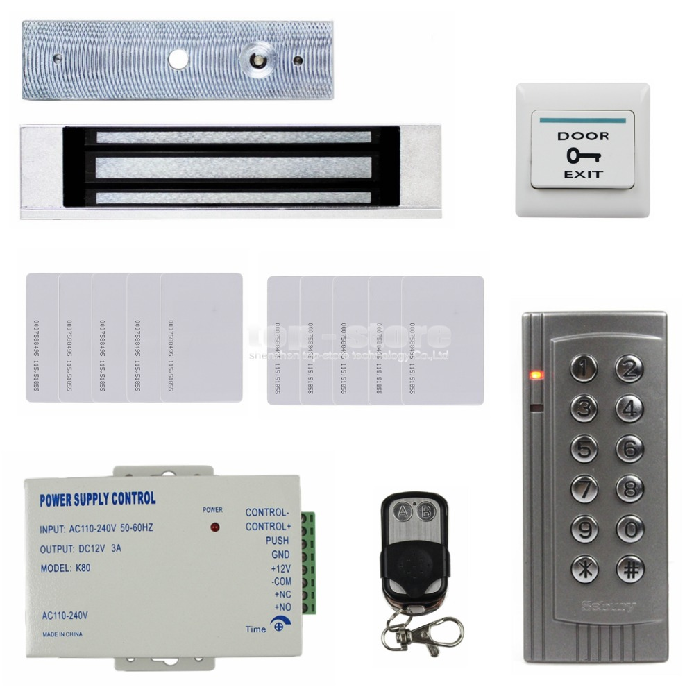 DIYSECUR 125KHz RFID Reader Password Keypad Access Control System Security Kit + 180KG Magnetic Lock Remote Control K4 diysecur touch panel rfid reader password keypad door access control security system kit 180kg 350lb magnetic lock 8000 users