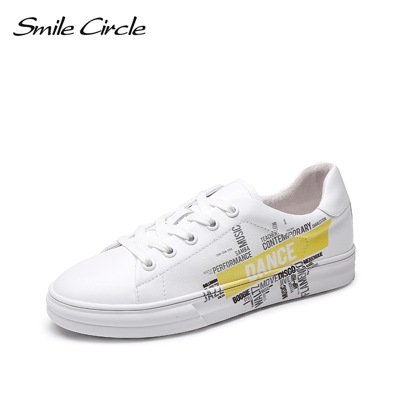 Smile Circle White Shoes Women sneakers Fashion graffiti letters flat shoes 2019 Spring new Genuine Leather