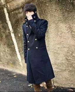Azul de gola dupla breasted casacos homem jaqueta preta inverno manteau casaco de lã de lã peacoat cashmere 2XL