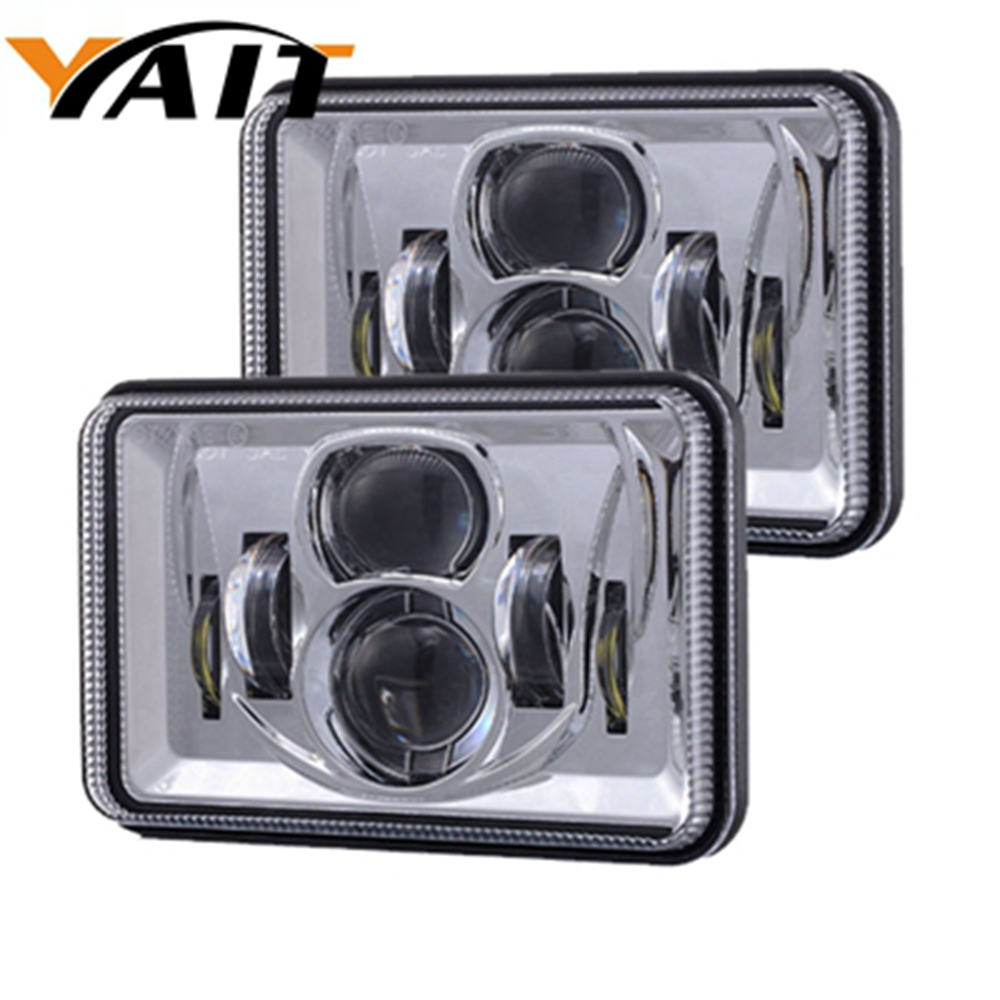 2pcs 4x6 led square headlight conversion h4 headlamp replace for hid xenon h4656 h4666 h6545 peterbilt freightliner kenworth [ 1000 x 1000 Pixel ]