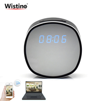 WIFI Electronic Clock Mini Camera Alarm Time Remote Video Monitor P2P CCTV IP Camera Home Security Surveillance IR Night Vision