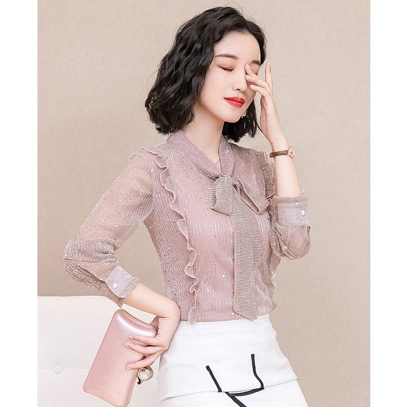 Korea Style Women Blouse Shirts 2018 Elegant Ruffles Women Tops Plus Size warm Solid Casual Loose Shirt blusas feminina NW1055 4