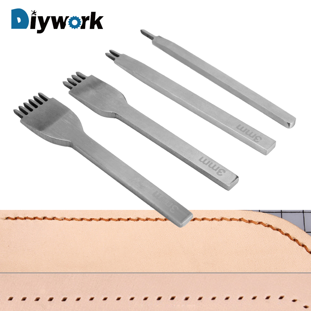 DIYWORK Craft DIY Tool Rhombus Tooth Chisel Stainless Steel Punch Tool Chisel 1 Piece 1/ 2 /4 /6 Prong Hole Punch Leather