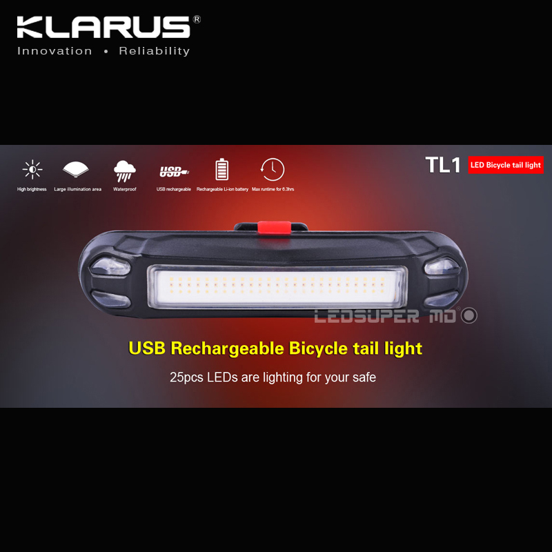 Free Shipping KLARUS TL1 USB Rechargeable LED Bicycle Tail Light by 25 PCS LEDs
