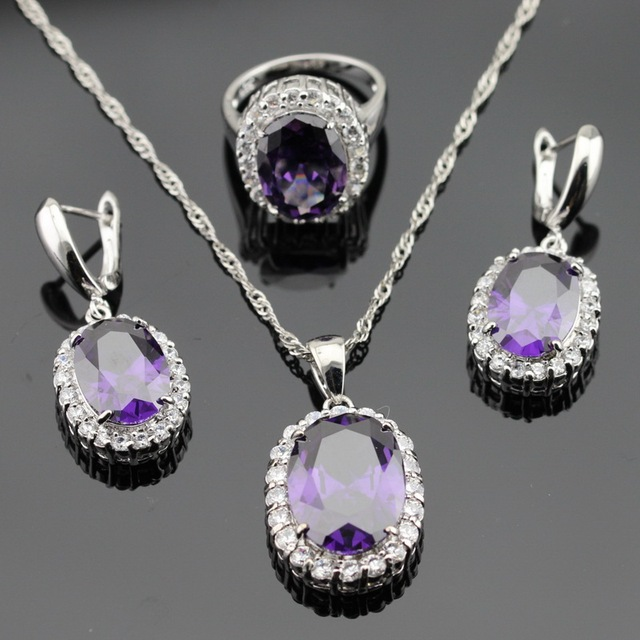 Purple Created Amethyst White CZ Silver Color Jewelry Sets For Women Necklace Pendant Earrings Rings Christmas Gift