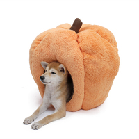 Cute Pet House New Halloween Pet Bed Removeable Cushion Cat Bed Funny Orange Puppy Dog Kennel Windproof Warm Cat House