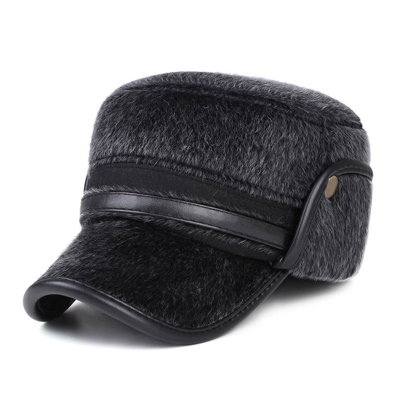 Autumn And Winter Fashion Man Fur Baseball Cap Thick Mink Ear Protection Hat Keep Warmth Visor Male Bone