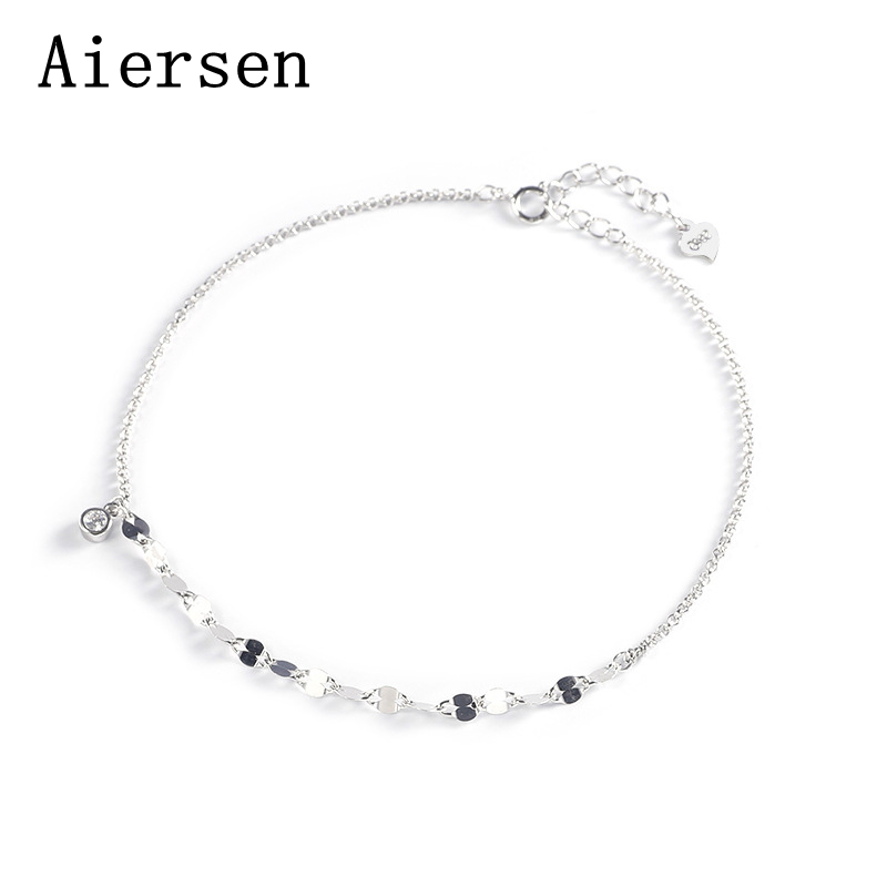 New Sterling Silver 925 Anklets Luxgem Clear Cz Fashion Foot Anklets for Women Barefoot Sandals Beach Leg Chain Jewelry