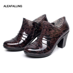 Aleafalling new arrival rain boots waterproof shoes woman rain woman water rubber ankle boots zip flower botas 36-40 W045 7