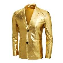 Oro brillante chaqueta Coated Night Club Mens traje chaqueta Blazer Casual  Slim Fit Hip Hop disfraces bailarín Singer Blazers en. 486d0910421