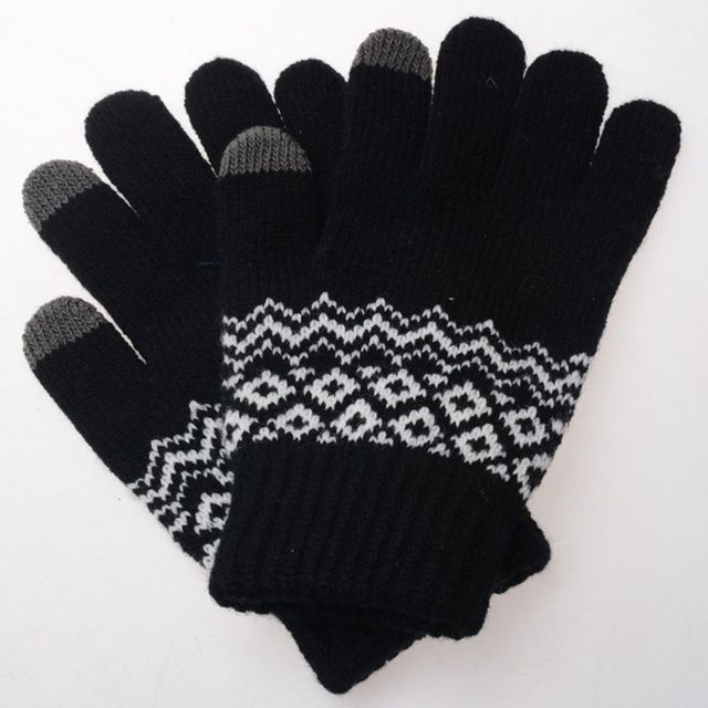 3b529a511 Hot Selling 1 pair Men Women Girl Stretch Knit Mittens Gloves Unisex Touch  Screen Gloves Adult Winter Warm Soft Jacquard Gloves