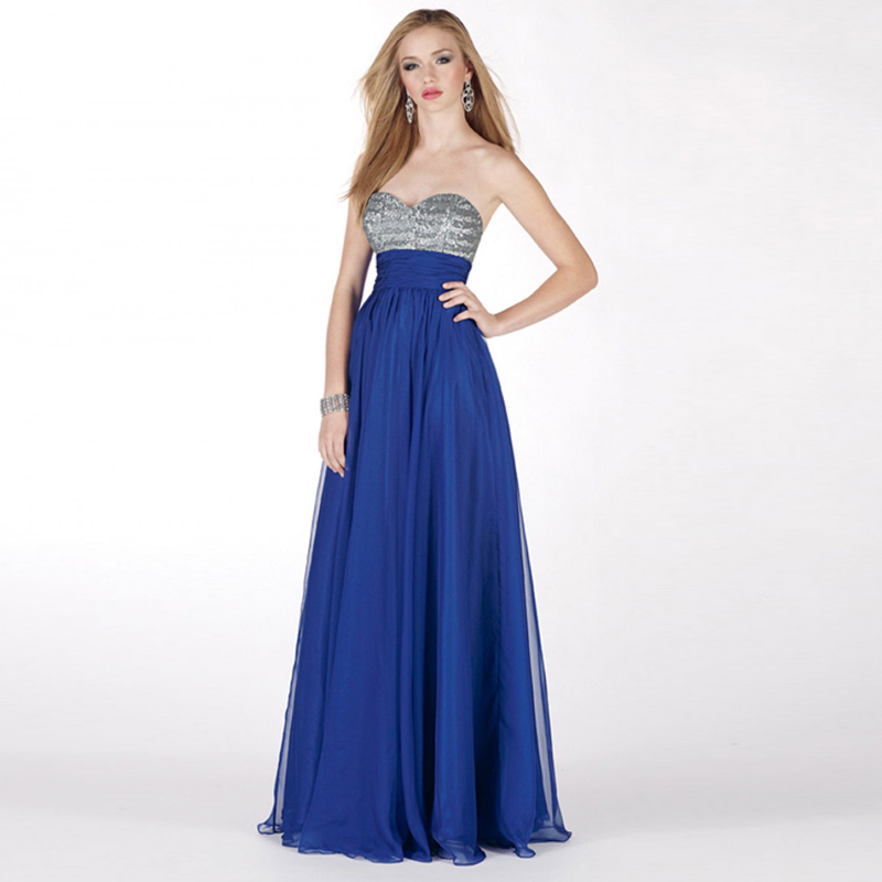 Hot Royal Blue Long Sweetheart A Line Sequins Chiffon Bridesmaid Dresses Simple Maid Of Honor Dress Bnd12 In From Weddings Events