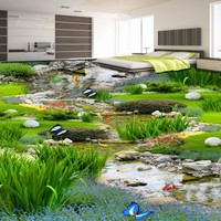 Free Shipping 3D latest garden grass carp flooring painting bathroom dancing studio walkway PVC floor wallpaper mural