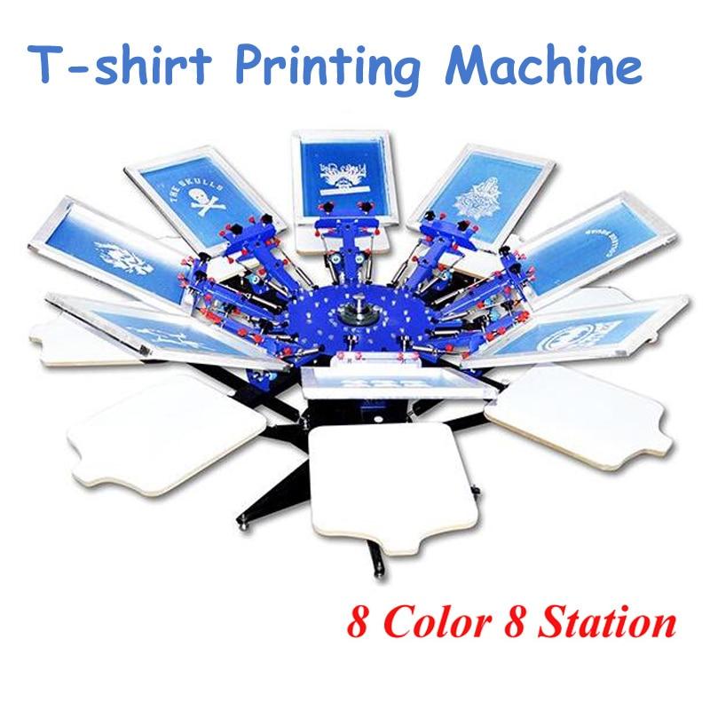 8 цветов 8 станция футболка Экран печатная машина высокое качество прессования машина поставляется с базой S882L