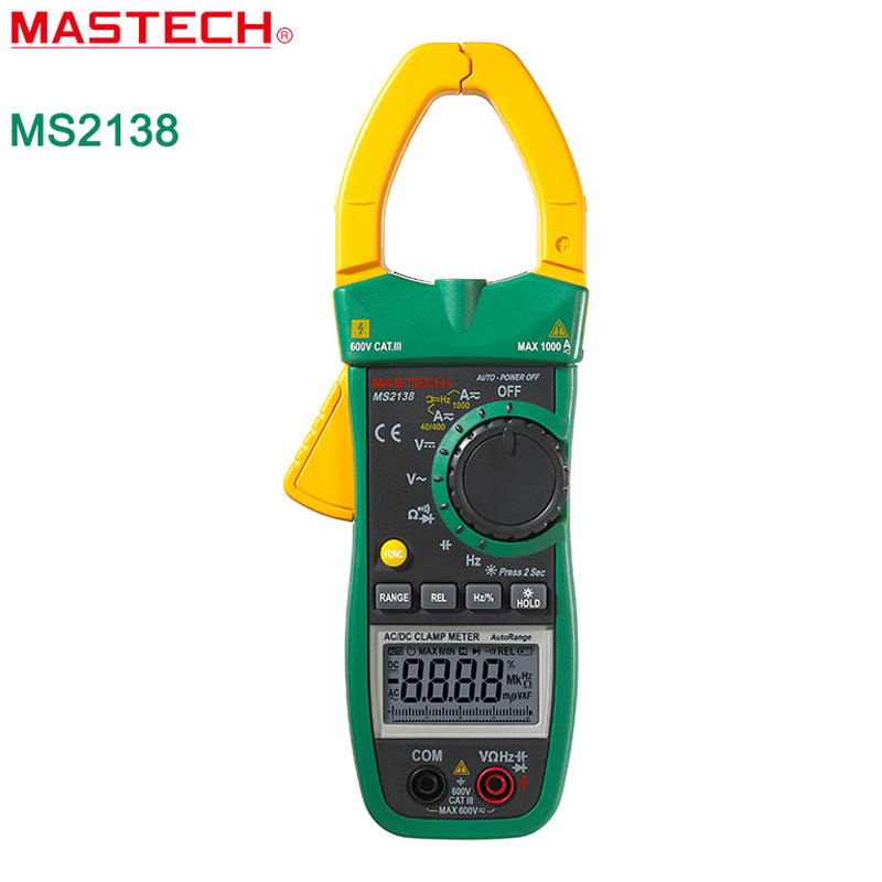 MASTECH MS2138 AC DC Digital Clamp Meter 1000A Multimeter Electrical Current 4000 Counts Voltage Tester mastech ms2138 ac dc digital clamp meter 1000a multimeter electrical current 4000 counts voltage tester