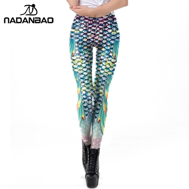 4eed4d6b91da1 NADANBAO Galaxy Mermaid Leggings Women Workout Fitness Legging Plus Size  Colorful Shiny Fish Scales Printed Leggins