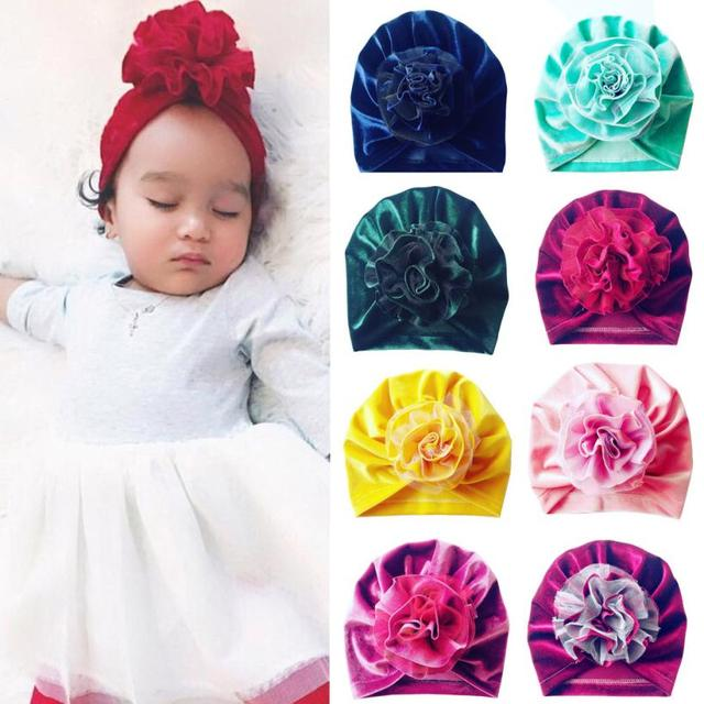1Pc Newborn Toddler Kid Baby Boy Girl Flower Turban Beanie Hat Headwear Hat Baby Turban Cap for ...