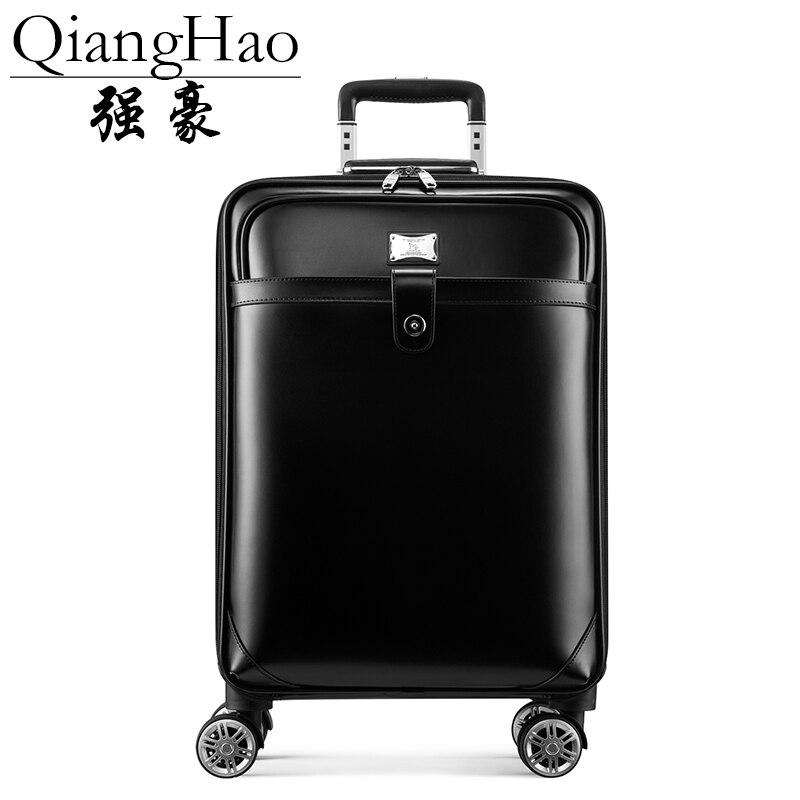 """QiangHao 100% ensemble de sac de valise de voyage en cuir de vache, boîte étanche avec roue, boîtier de chariot roulant 16 """"20"""" pouces-in Bagages à roulettes from Baggages et sacs    2"""