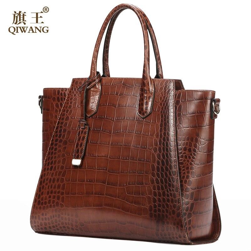 QIWANG GETROFFEN Frauen Echtes Leder Taschen Luxus Designer Handtaschen 100% Full Grain Rindsleder Krokodil Muster Große Kapazität Tote Taschen-in Taschen mit Griff oben aus Gepäck & Taschen bei  Gruppe 2
