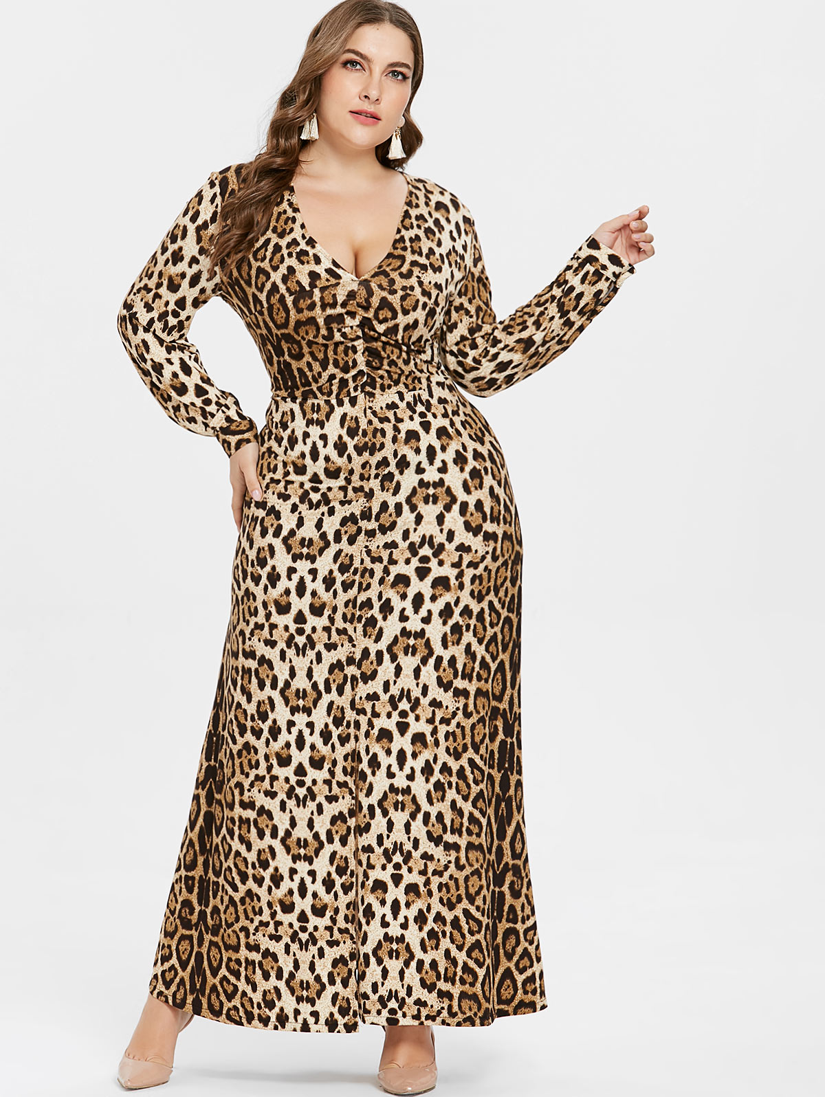 5cc12131652 Wipalo Plus Size Sexy V Neck Leopard Dress Women Long Sleeves Ankle-Length  Dress Casual