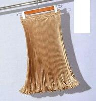 Winter Women Pleated skirt elastic waist Gold metallic skirt Tutu Party Midi Skirt Ladies Saia Fenimias JX025