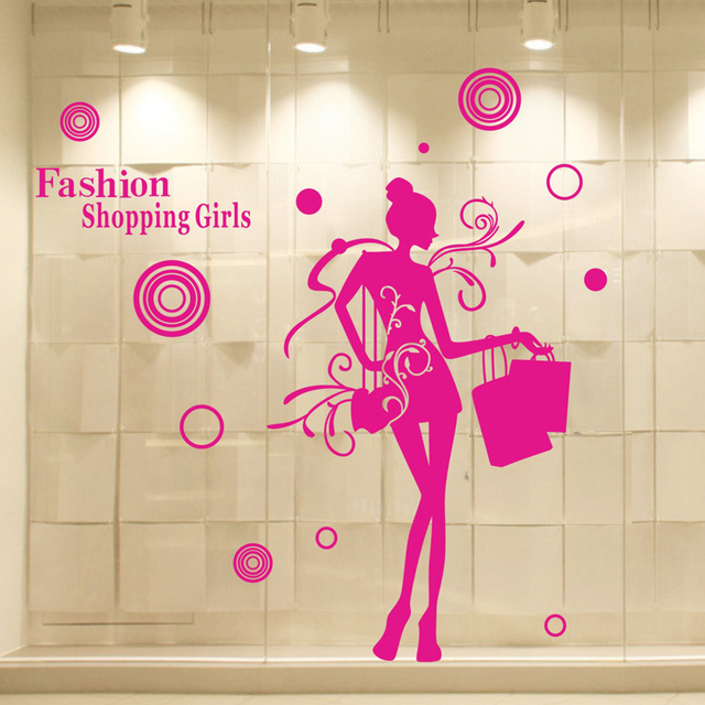 Clothes shop vinyl wall decal sexy girl fashion shopping girl mural art wall sticker clothing store