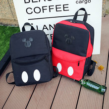 2019 Disney Mickey Mouse Bag Casual Plush Backpack School Bag Girls Women Canvas Travel Package Bags Satchel Rucksack(China)
