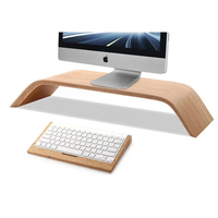 SAMDI Laptop Wooden Stand For IMac MacBook Computer Bamboo Wood Keyboard Stand For Apple 1st Bluetooth