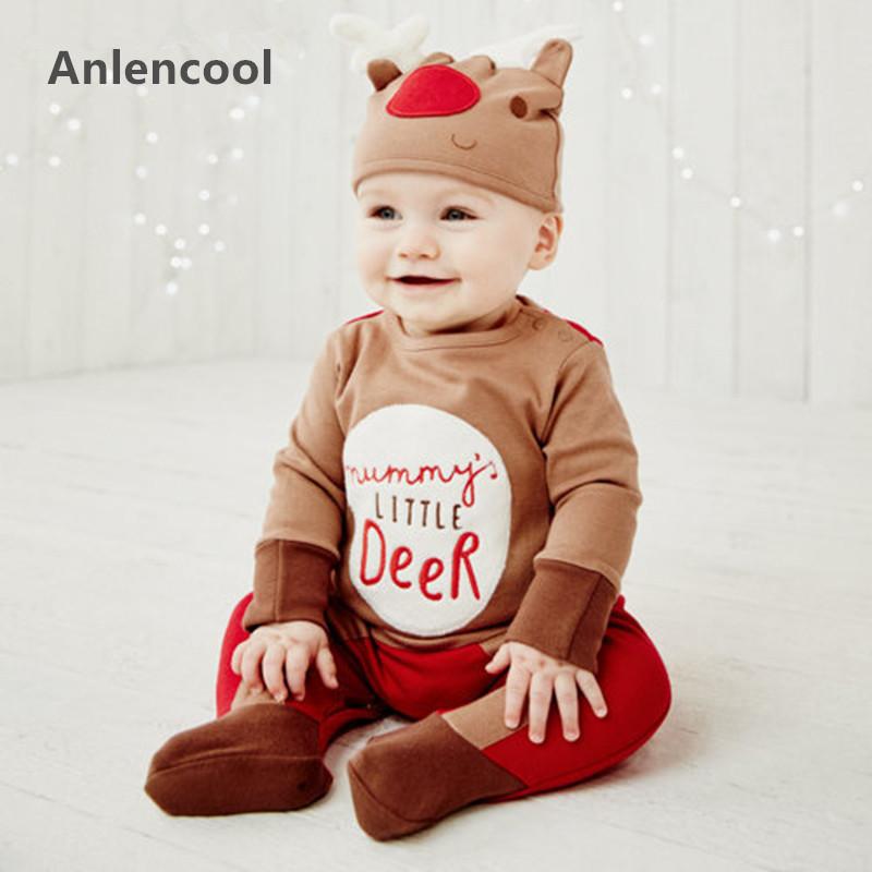 HTB1N9ZuOFXXXXazXVXXq6xXFXXXw - Anlencool Baby Rompers  New Autumn Christmas Baby Girl Clothes Neonatal Clothes Baby Clothes Fawn Print Rompers+Hat 2Pcs