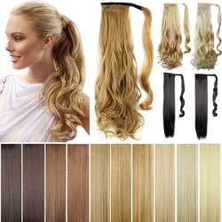 Pony tails ponytails hair pieces 22 synthetic hair long cruly clip in ribbon ponytail hair extensions.jpg 250x250