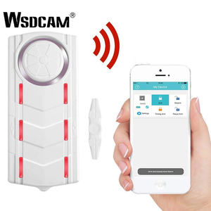 Wsdcam Wireless Rechargeable Vibration and Magnetic Alarm Anti-Theft Remote Control Door And Window Security Alarm with Light