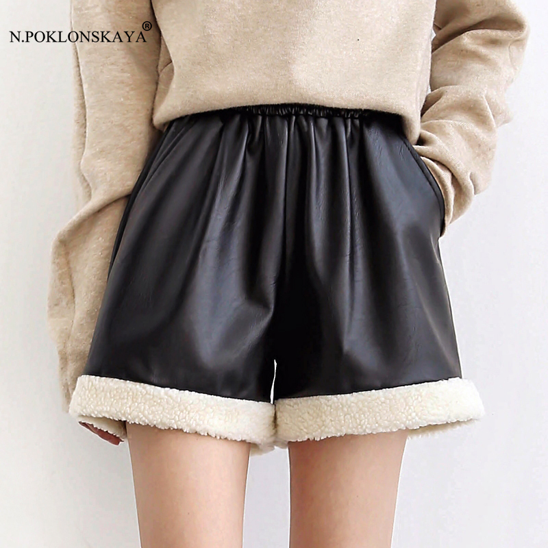 Elastic Waist PU leather Black Shorts for WomenFemale Autumn Winter Short Pants Lambswool High Quality Girl Hot Shorts feminino