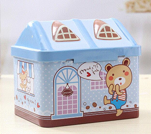 Tinplate Coin Bank Cartoon Candy Storage Can Money-Box Christmas Gifts 1Pc