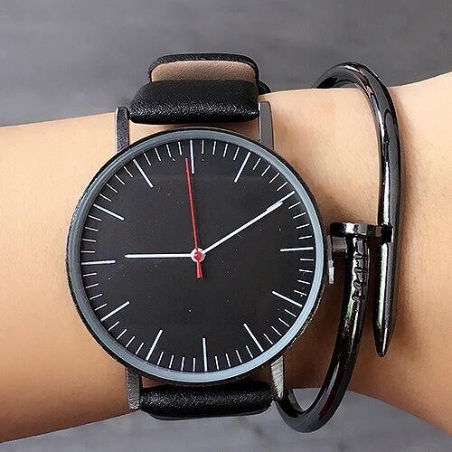 Quartz Watch Men Top Brand Black Leather Watches Relojes Hombre <font><b>2016</b></font> Horloge Orologio Uomo Montre Homme clock S001K