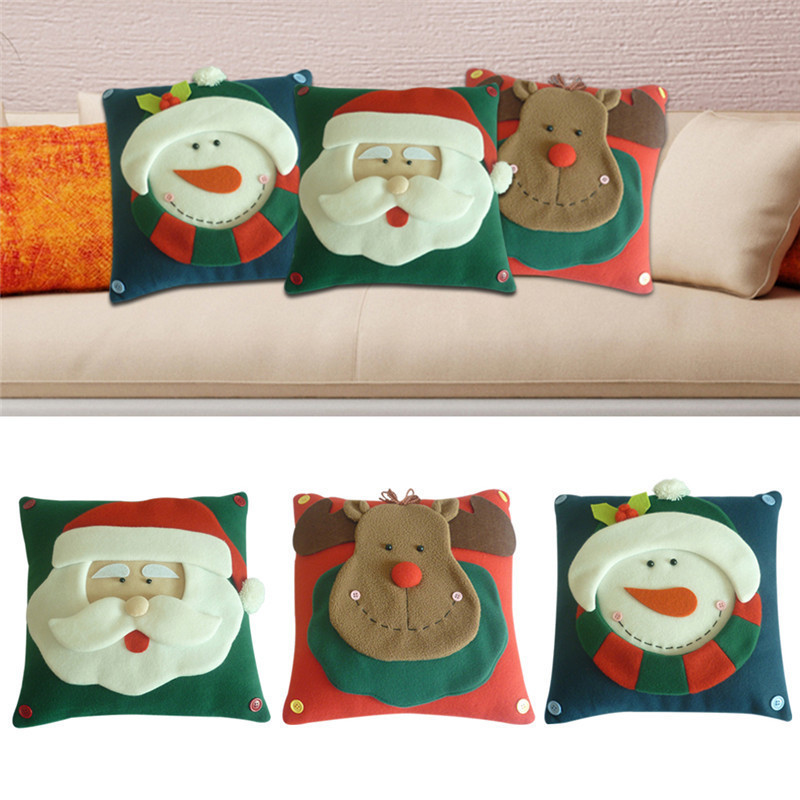 3D Christmas Pillow Cover Santa Claus Snowman Elk Chrismas Decoration Home Decorative Xmas Type Pillowcase 30*30cm Newest ...