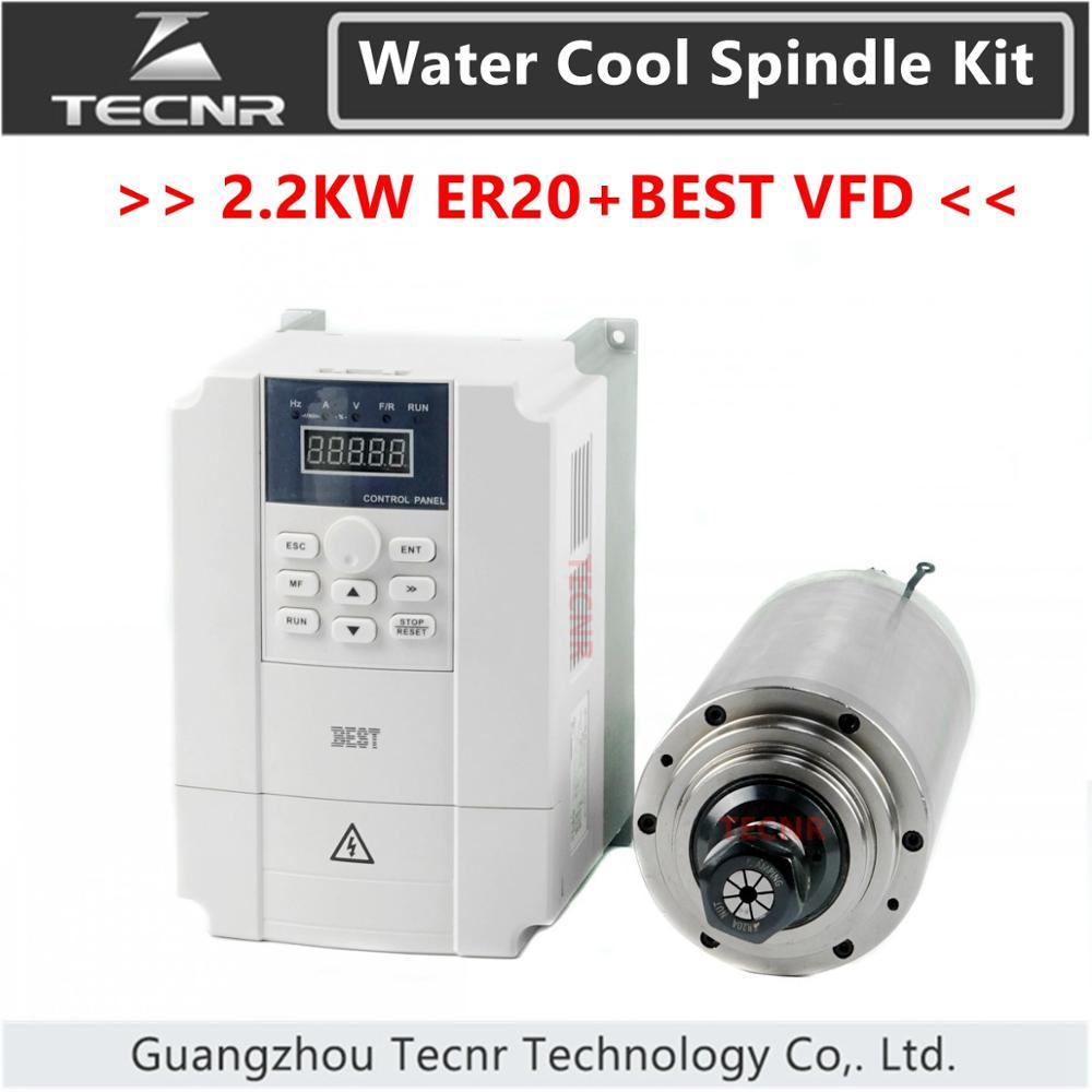 TECNR vandeniu aušinamo veleno komplektas 2.2kw 220v 380v ER20 ir 2.2kw BEST VFD