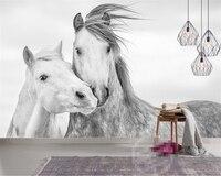 Beibehang Custom Wallpaper Living Room Bedroom 3d Wallpaper Nordic Simple Couple White Horse TV Background Mural