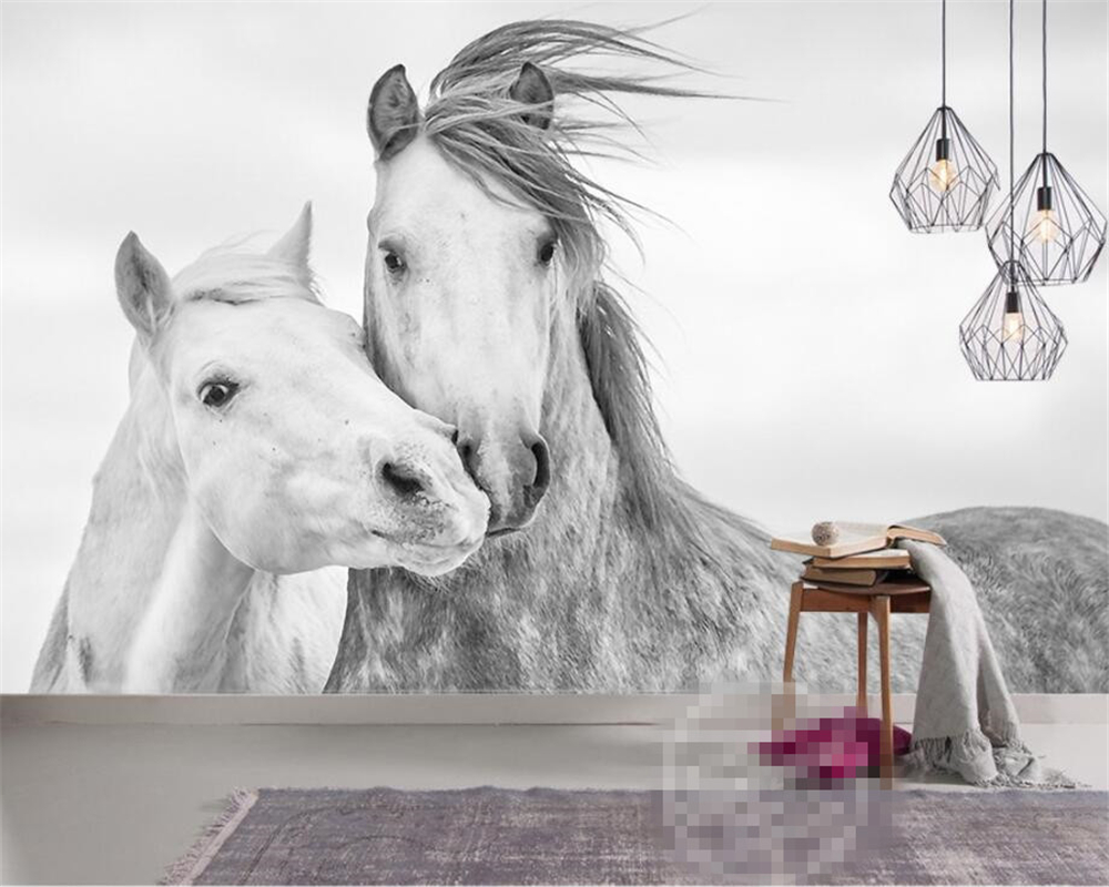 Beibehang Custom Wallpaper Living Room Bedroom 3d Wallpaper Nordic Simple Couple White Horse TV Background Mural Papel De Parede