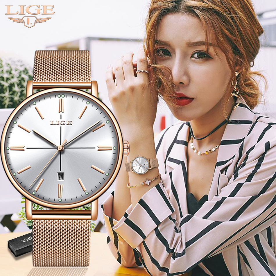 Genuine LIGE Creative Watch Women Stainless Steel Waterproof Watch Super Slim Mesh Belt Clock Ladies Gift Watch Relogio Feminino