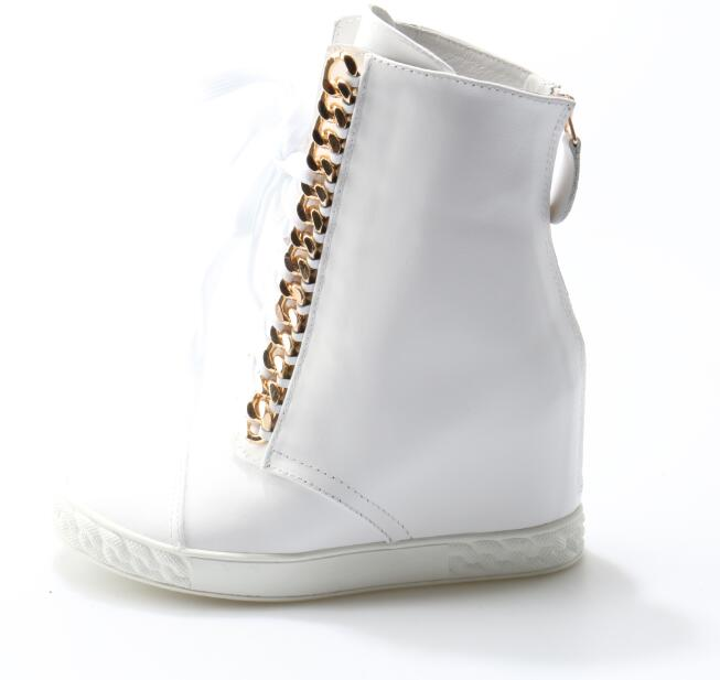 Fashion Gold Zipper Wedge Ankle Boots Casual Height Increasing Lace-up Shoes For Woman White Leather Leisure Outside Shoes lin king women casual shoes leisure lace up wedge shoes fashion low top massage ankle shoes solid massage outdoor single shoes