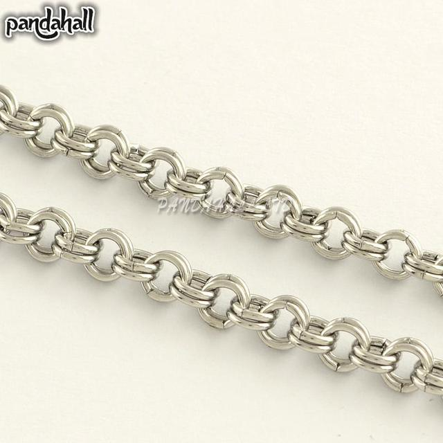 304 Stainless Steel Double Link Cross Chains, for Necklace Making, Unwelded, Stainless Steel Color, 4x0.7mm; about 25m/roll