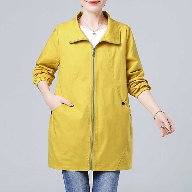 Women Windbreaker Overcoat 2019 Spring New Female Loose Middle aged Mother Coat Medium length Elegant Trench