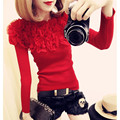 Autumn Winter Kintted Pullovers Women ruffled off shoulder sweater sexy slim knitwear jumpers