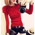 Otoño Invierno Kintted Jerseys suéter de Las Mujeres con volantes hombro atractivo delgado de los géneros de punto jerseys
